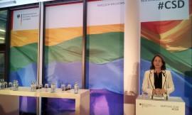 Bundesfamilienministerin Dr. Katarina Barley auf dem CSD-Empfang 2017; Foto: Axel Bach