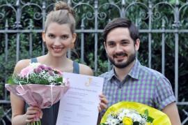 2. Platz für Lisa Altmeier und Sebastian Meinberg beim Felix-Rexhausen-Preis 2016 (nicht im Bild: Ariane Alter); Foto: Axel Bach