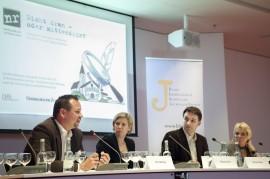 Sven Kneipp (Bürgermeister Merklingen), Christina Herz (NDR Hannover), Moderator Martin Munz (BLSJ Vorstand), Heidi Breer (freie Journalistin, Köln) auf dem Podium in München. Foto: Franziska Senkel.