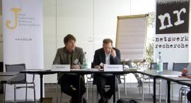 Martin Munz und Markus Bechtold beim Jahrestreffen des Netzwerks Recherche