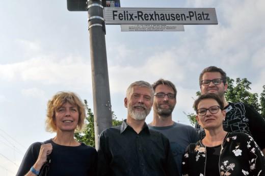 Jury des Felix-Rexhausen-Preises 2017: von links: Andrea Lueg, Arnd Riekmann, Dr. Lars Rinsdorf, Dr. Petra Werner, Timo Stoppacher (nicht im Bild: Pascal Beucker, Sefa İnci Suvak); Foto: Axel Bach