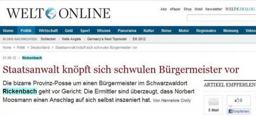 """Screenshot des Welt-Artikels mit Überschrift """"Staatsanwalt knöpft sich schwulen Bürgermeister vor"""""""